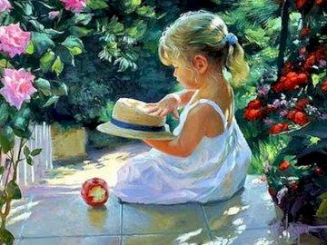 Malarstwo, reprodukcja - Malarstwo, reprodukcja , Dziewczynka z kapeluszem