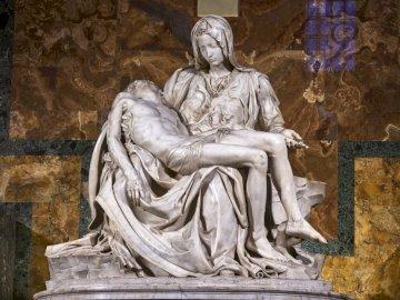 Michelangelo's Pieta - Sculpture of Michelangelo - Piet. Saint Basilica Peter's in Rome