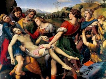 Placing Jesus in the grave - Rafael Santi Placing Jesus in the grave