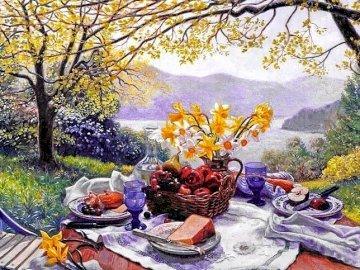 Una vista encantadora e idílica - Una hermosa e idílica vista de las montañas, el jardín.