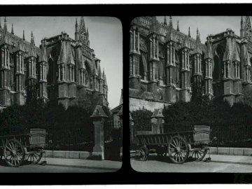 Cathédrale de Reims - cathédrale de reims pendant la guerre, plaque de verre du fonds Marius Poirier