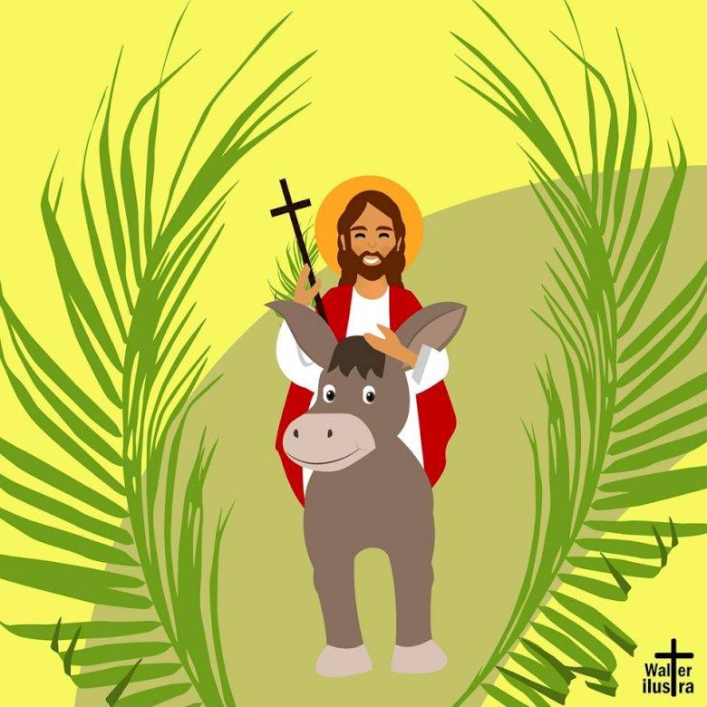 Palmová neděle DĚTI - Neděle Alma. Ježíš vstoupil do Jeruzaléma (20×20)