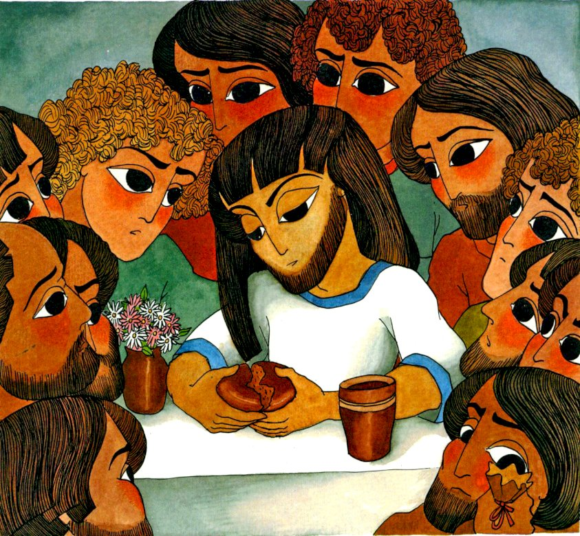Jezus viert het avondmaal met zijn vrienden - Hier kunt u de afbeelding van Jezus en zijn vrienden samenstellen. Dit is het laatste diner dat ze samen vierden (6×6)