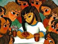 Jesus feiert Abendmahl mit seinen Freunden