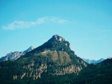 Szczyt górski w pobliżu Wolfgangsee - Góra porośnięta drzewami i roślinami. nie z tego świata