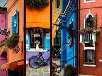 Kleurrijke huizen - Kleurrijke straten. Fotocollage ---------. Fotocollage.