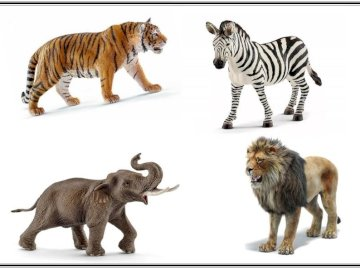 Wildtiere Rätsel - Wildtier-Puzzle. Die Aufgabe des Kindes besteht darin, einzelne Elemente so abzugleichen, dass ein B