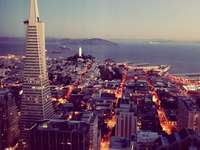 Bling bling. Transamerica - Aerial view of high-rise buildings. California