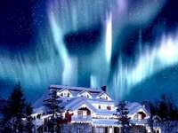 Een besneeuwde hut