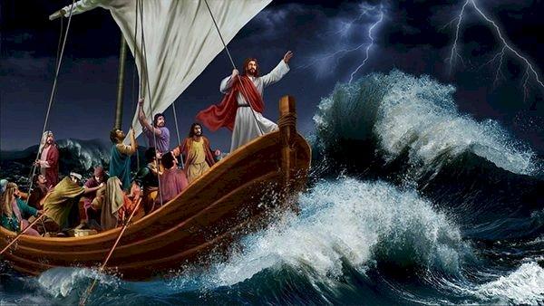 Jesus stormar vid sjön online pussel