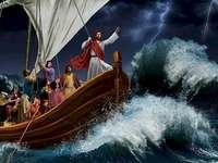 Jesus stormar vid sjön