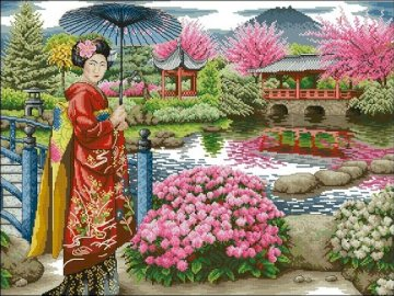 In a Japanese garden. - Landscape puzzle.