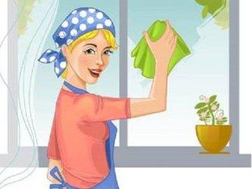 Mycie okien - Ułóż puzzle. Powiedz jaką czynność wykonuje Pani na obrazku.