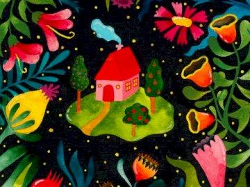 puzzle domek - puzzle gdzie można ułóżyc domek i kwiatki