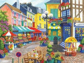 Een kleurrijke stad. - Landschap puzzel.