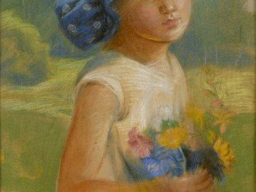 A. Serbeński Portret dziewczynki - Obraz Antoniego Serbeńskiego (pastel), ze zbiorów Muzeum Regionalnego w Ostrzeszowie. przedstawia