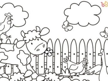 Country animals - Coloring book, puzzle, rural animals