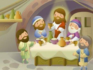 last Supper - Jesus eats the last supper with his disciples. Maundy thursday