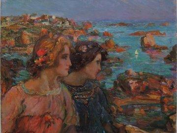 Dwie kobiety nad morzem - Obraz dwóch kobiet nad morzem w Bretanii. puzzle zostaną wykorzystane do animacji Halloween przez