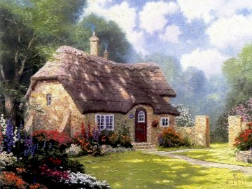 cottage - painting showing a house in the countryside in summer