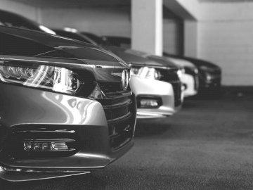 Czarno-białe zdjęcie rzędu - Skala szarości zdjęcie samochodu na drodze. Fairfax Virginia