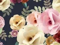 Fleurs artistiques sur une grenade