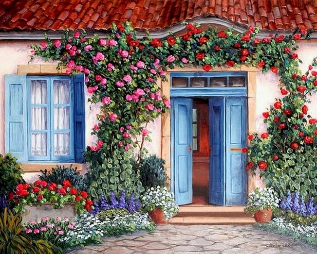 Пред къщата - Пред къщата, цветя, сини врати, прозорци (11×8)