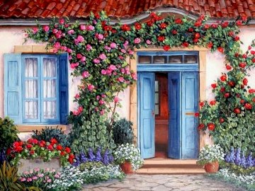 En frente de la casa - Frente a la casa, flores, puertas azules, ventanas.