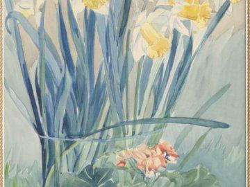 Żonkile w szklanym wazonie - Obraz Antoniego Serbeńskiego - papier, akwarela; 38 x 29 cm. Własność prywatna, Ostrzeszów Obra