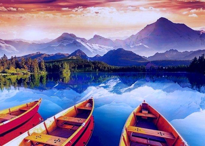 Кристално езеро - Кристално езеро, лодки, планини, панорама (11×8)