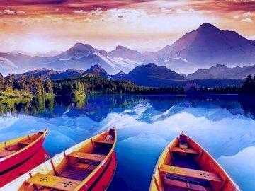 Lago de cristal - Crystal Lake, barcos, montañas, panorama