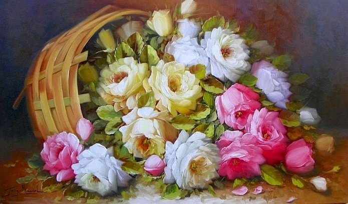 живопис - Живопис, кошница с цветя, композиция (11×8)