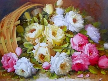 Painting - Painting, basket of flowers, composition