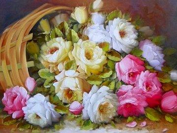 pintura - Pintura, canasta de flores, composición.