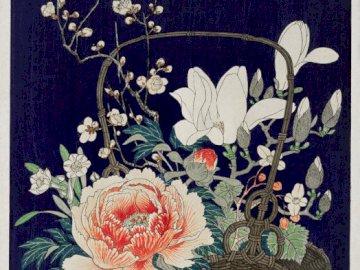 Panier de fleurs - Fleurs peintes, bouquet dans le panier