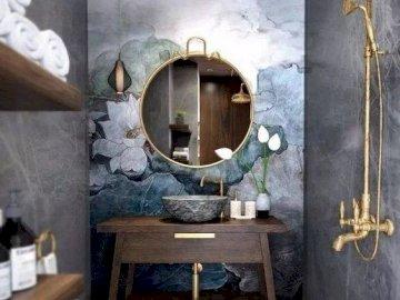 Bagno in grigio - Disposizione del bagno, grigia