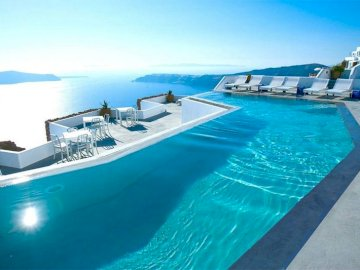 Santorini - Pool on Santorini, vacation