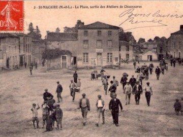 Sevemony - Stara pocztówka Wyjdź z fabryk obuwia w St Macaire w Mauges.
