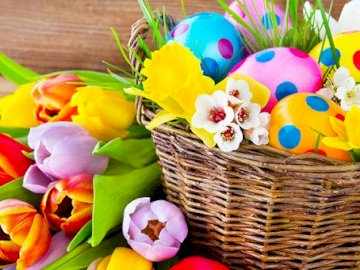 Eggs in the basket - Eggs in a basket with flowers