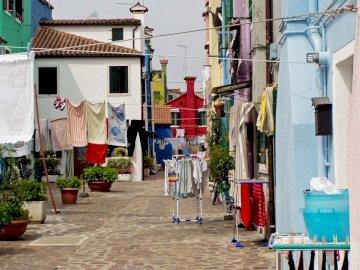 Murano uliczka - Włochy, Wenecja, szkło -------