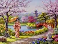 In een Japanse tuin.