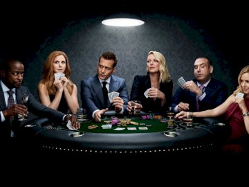 Suits poker game - Harvey, Donna, Louis, Samantha, Kathrina and Alex at the poker table