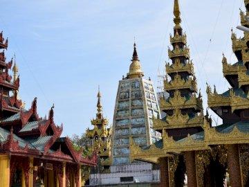surroundings of the great Yangon stupa - surroundings of the great Yangon stupa