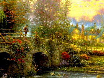 man on the bridge - picture - painting showing a man on a bridge in a beautiful plant scenery