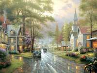 street in the rain - painting showing a rainy day in a town