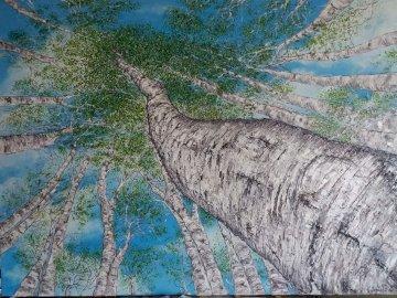 las brzozowy - obraz olejny brzózek