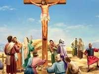 Wielki Piątek - Ilustracja przedstawia scenę ukrzyżowania Jezusa.
