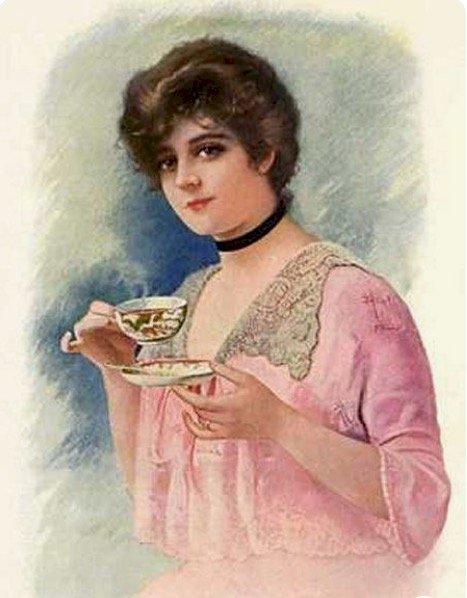 Dáma pije odpolední čaj (15×15)