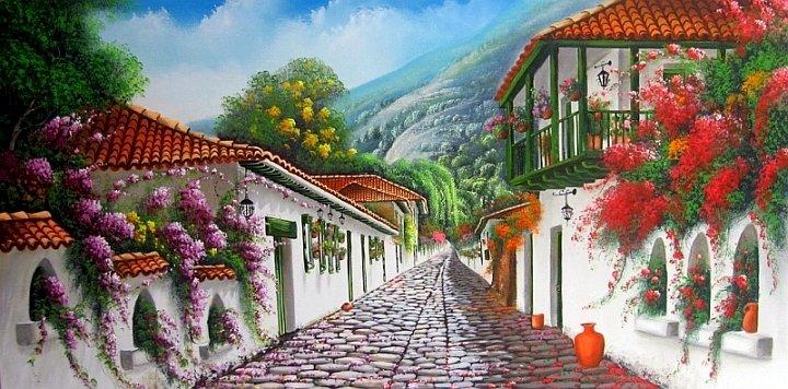 Цветна улица - Цветна улица, бели къщи, цветя, пейзаж (10×7)