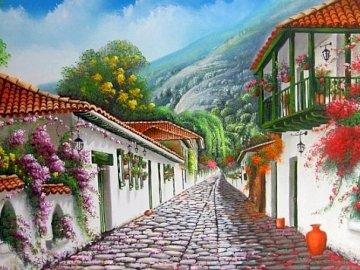 Una calle florida - Una calle florida, casas blancas, flores, un paisaje.